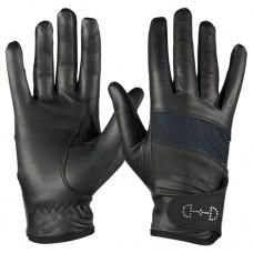 HORZE ženske jahalne rokavice LEATHER MESH - črne