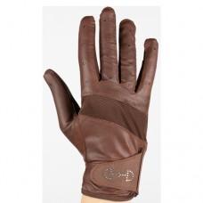 HORZE ženske jahalne rokavice LEATHER MESH - rjave