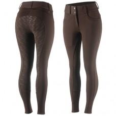 HORZE MIA termo zimske jahalne hlače s silikoni - rjave