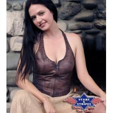 Ženski usnjen brezrokavnik JEANY