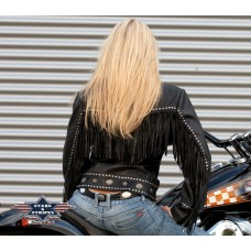 Usnjena jakna s franži BROOKLYN-ženska
