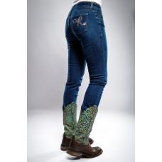 Ranchgirls - Ženske kavbojke OSWSA model BETSY srednje temen jeans